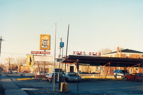 The Frosted Mug Drive In at West 116th Street and South Pulaski Road. (Closed)  Alsip Illinois.  January 1990. by Eddie from Chicago
