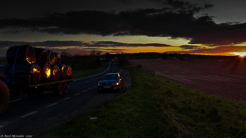 sunset sky orange sun tractor car clouds dark lumix moody neil somerset farmland panasonic wellington land farmer a38 lx7 farminf moralee