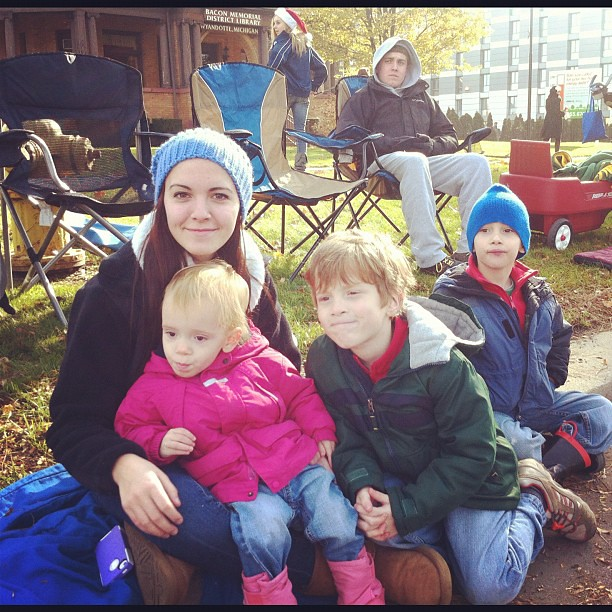 Cousins!! Fun morning at the parade.  Even Andrew is in this one!  @sweetcaroline__
