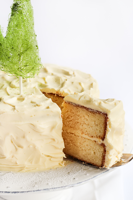 Coconut Cake with Spun Sugar Christmas Trees