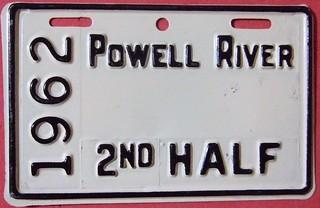 POWELL RIVER B.C. 1962 2nd HALF ---SUPPLEMNTAL LICENSE PLATE BLANK