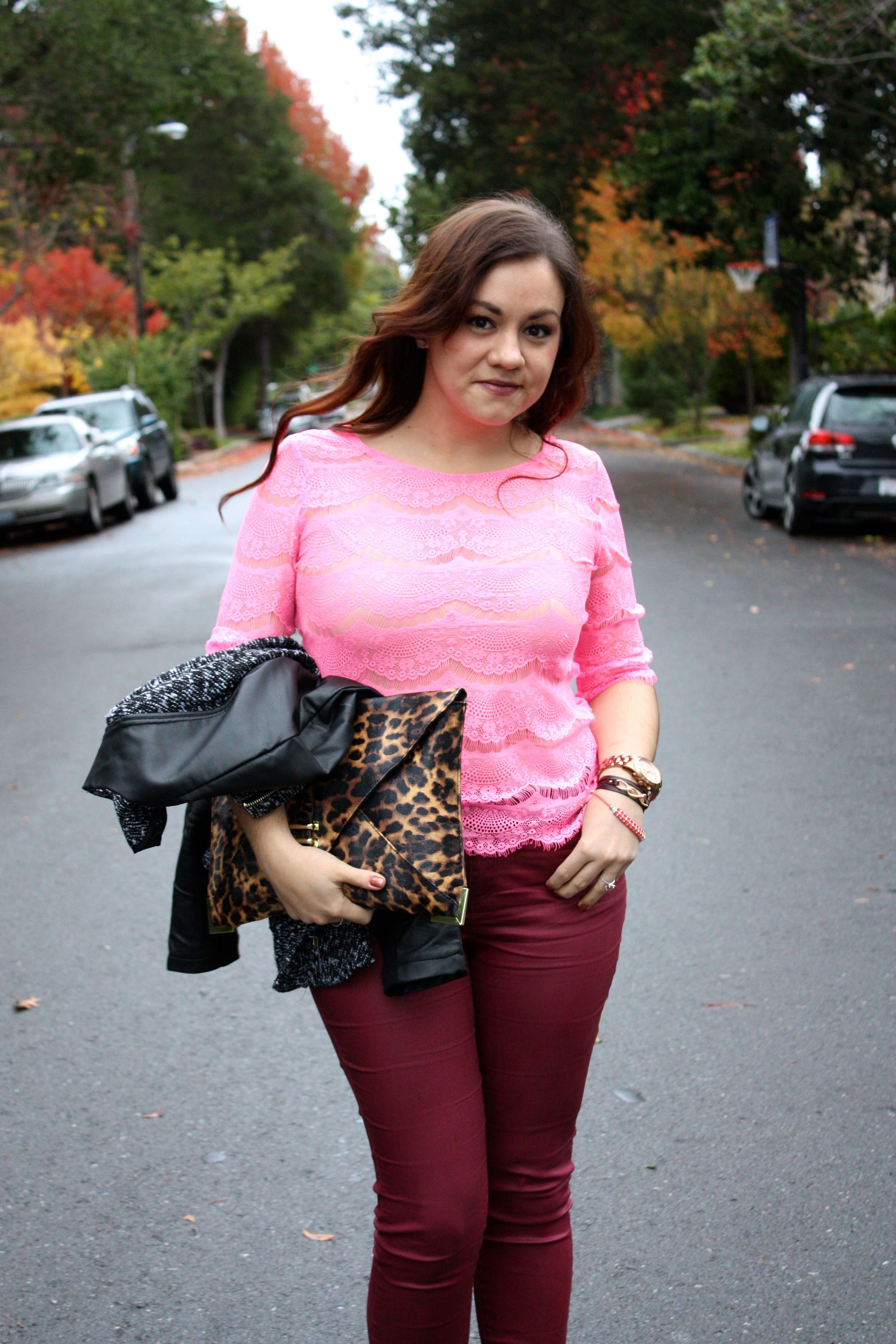 neon lace top - burgundy waxed jeans - tweed and leather peplum jacket - leopard envelope clutch13