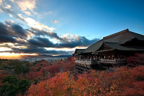autumn sunset fall japan temple kyoto 清水寺 kiyomizudera
