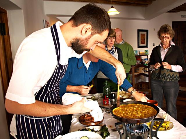 Tom Ryalls cooks tortilla at Las Alpujarras