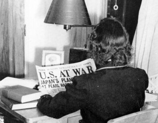 FSCW student reading about the Pearl Harbor Attack: Tallahassee, Florida