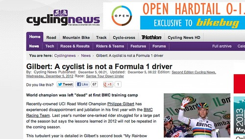 A cyclist is purportedly not an F1 driver