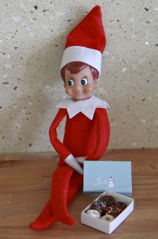 Want a Donut? Elf on the Shelf. Click for more ideas! #elfontheshelf