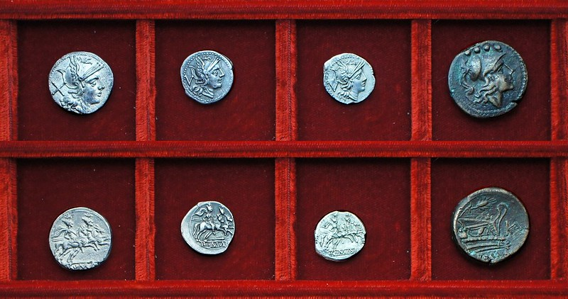 RRC 068 corn-ear silver, RRC 69 corn-ear and KA triens, Ahala collection, coins of the Roman Republic