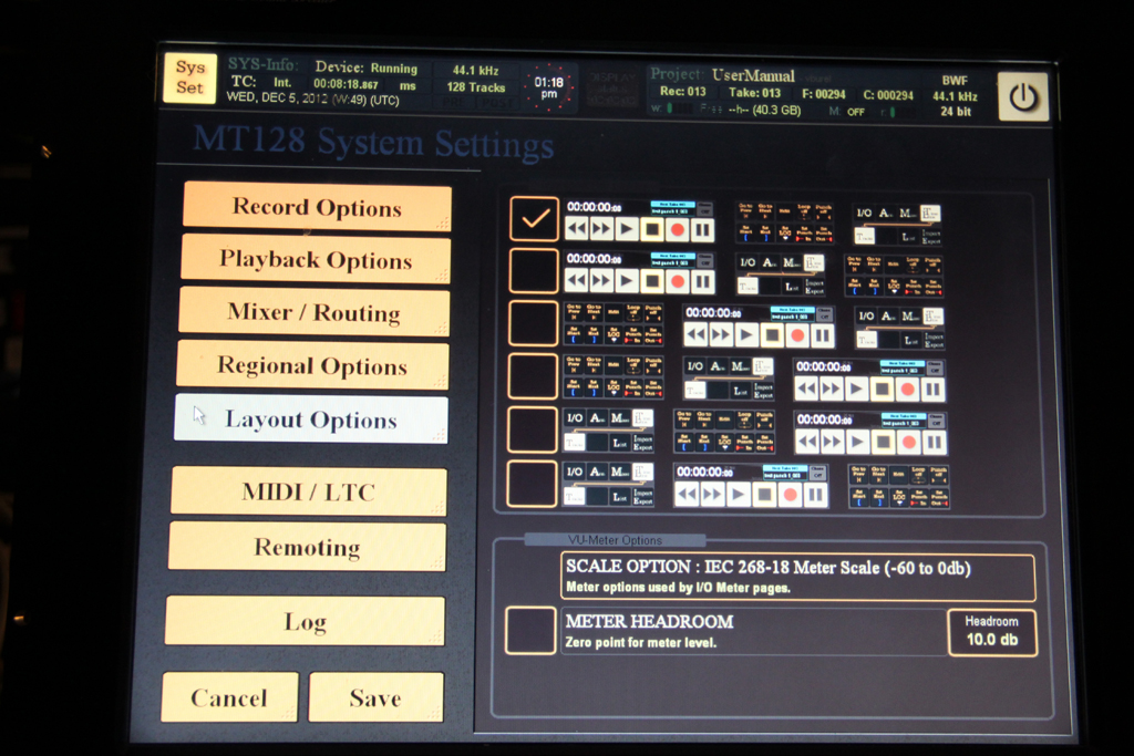 MT128 Layout System Settings   MT128 Recorder includes Syste