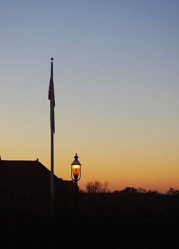 station sunrise flag lamppost vanburen arkansas 121212 trainterminal crawfordcounty