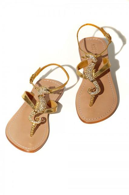 Sandals w Swarovski seahorse by Mystique