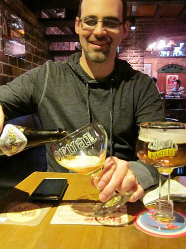 Eric pouring my Orval