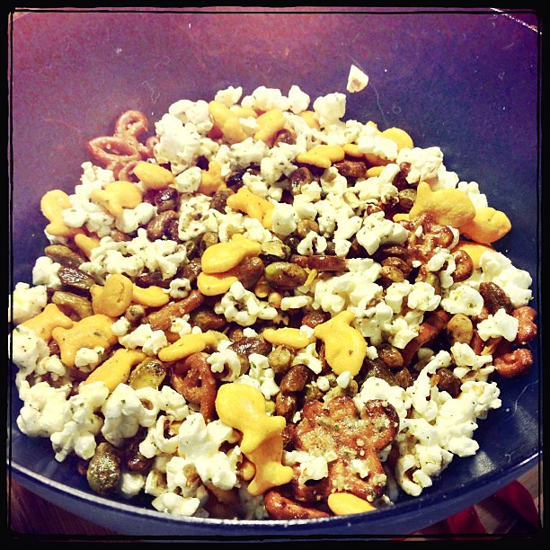 Parmesan Ranch Trail Mix (from Pinterest: popcorn, goldfish, pretzels ...