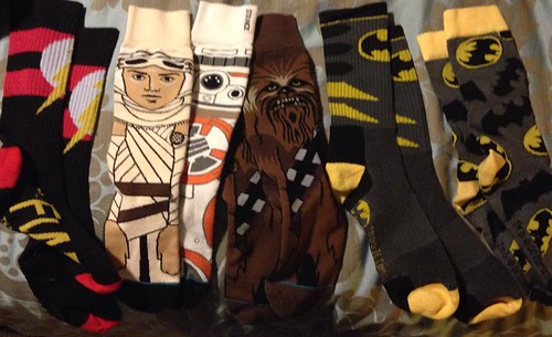 What do socks say about someone? Laundry load had five pair of socks for the past week. No solid colors? @stancesocks @starwars @reallegobatman @dccomics