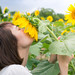 Young female covering her face with sunflower by Apricot Cafe