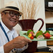 Chef Morimoto and hs platter of sashimi