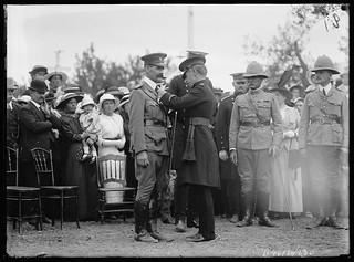 B46130_330 Sir Henry Galway, presenting Lieutenant Colonel Dollman with a decoration.