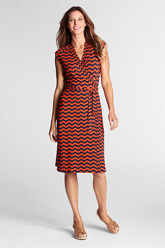 orange faux wrap dress