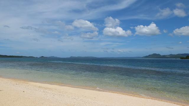 不過這裡沙不細~海也不特別漂亮~又有很多海草