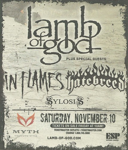 11/10/12 Lamb Of God/ In Flames/ Hatebreed/ Sylosis @ Myth, Maplewood, MN