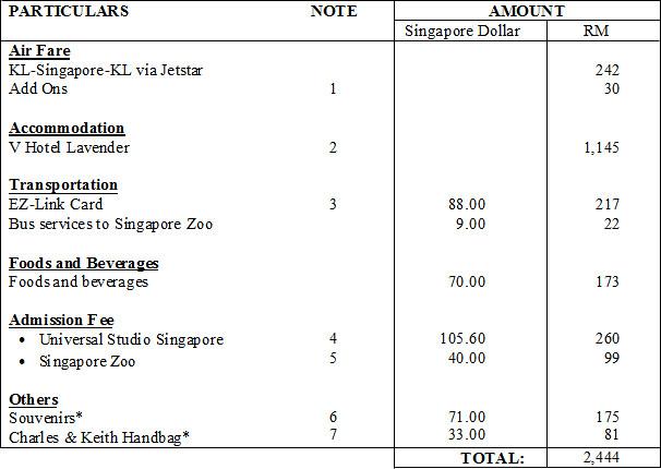 Singapore Expenses 2011