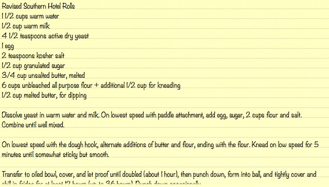 Revised Southern Hotel Rolls Notes