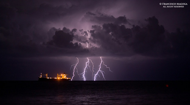 Tankship during a lightning storm