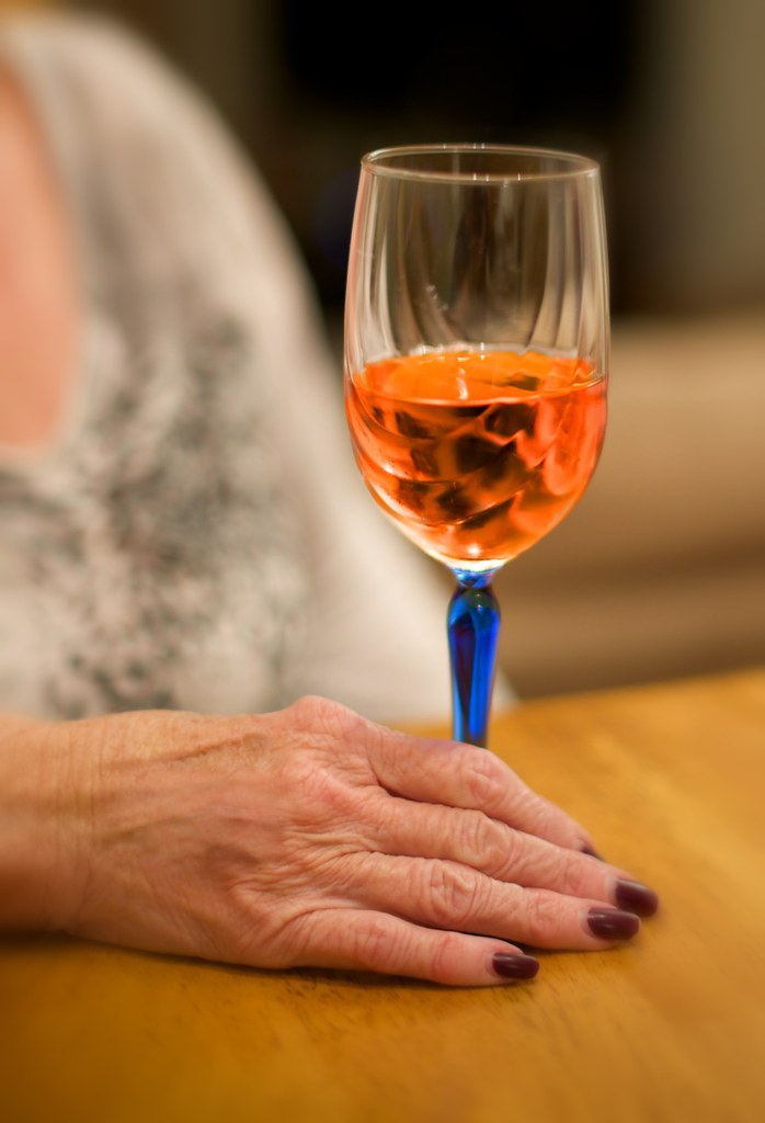 wine and hand
