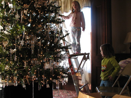 "decorating the ""glass"" tree"