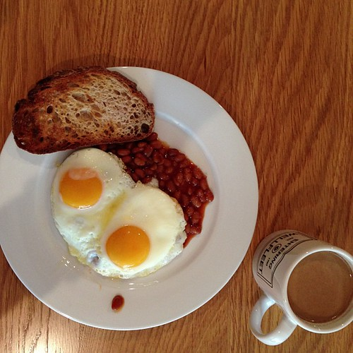 Baked beans. Eggs. Toast. Coffee.