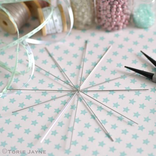 Making beaded snowflakes