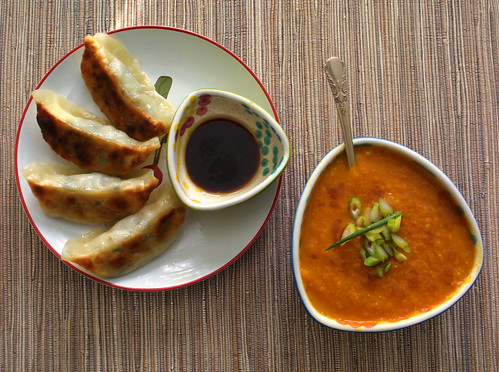 Carrot-Ginger-Miso Soup and dumplings