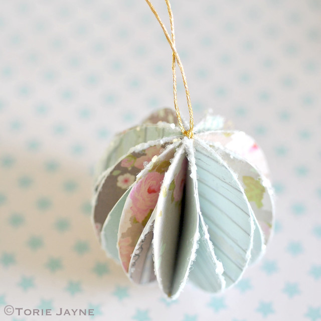 Glittered pretty paper bauble