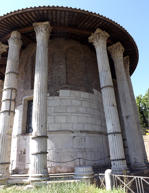 Detail of the Corinthian Columns on the Round Temple by Tiber in Rome, June 2012