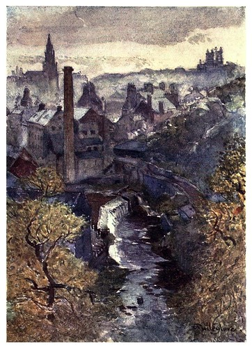 009-El rio Leith desde el puente Dean-Edinburgh, painted by John Fulleylove- 1904