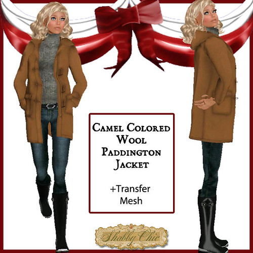 Shabby Chic Camel Color Wool Paddington Jacket by Shabby Chics