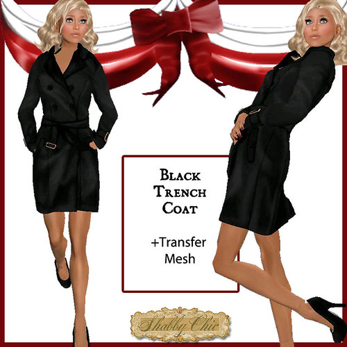 Shabby Chic Black Trench Coat by Shabby Chics