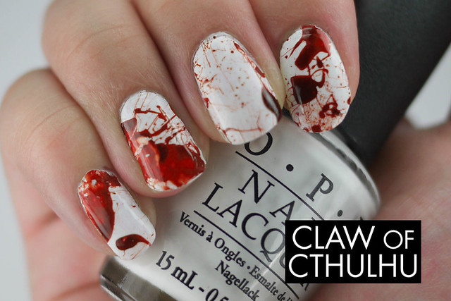 Blood Spatter Nail Art Done By DIY Decals