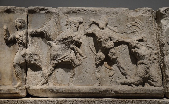 Slab from the Amazonomachy frieze from the Mausoleum at Halikarnassos, British Museum