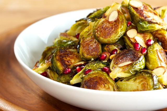 roasted brussels sprouts with sliced almond and pomegranates