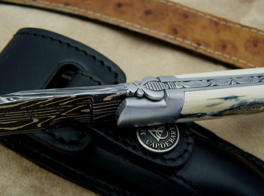 Couteau laguiole ivoire de mammouth cisele au burin