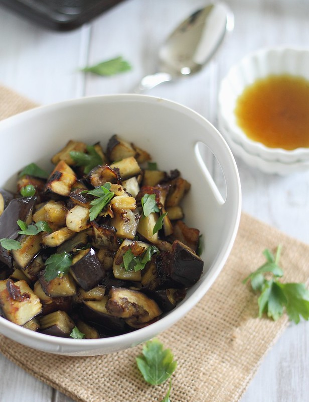 Crunchy maple orange roasted eggplant