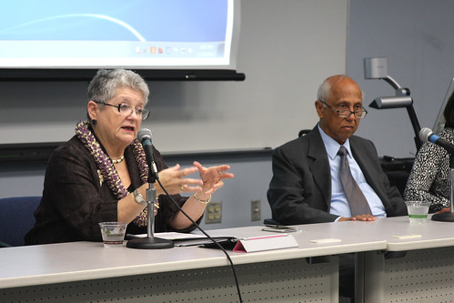 <p>President M.R.C. Greenwood and Regent Artemio C. Baxa at the University of Hawaii Maui College community forum.</p>