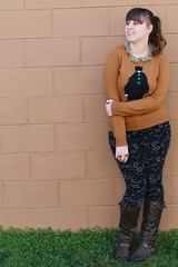 "Printed Corduroys by Pilcro and the Letterpress, brown leather boots, ""The Parisian"" intarsia sweater from J.Crew, ""Sparked Agate Collar"" necklace from Anthropologiecollar necklace"