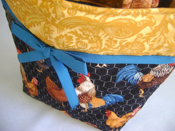 close up of rooster bag