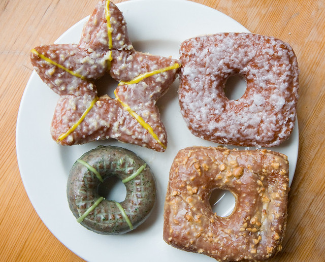 Marzipan star, coconut cream, peanut butter and blackberry jam, and triple chocolate mint donuts, Doughnut Plant