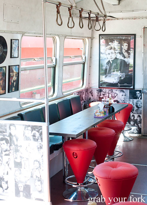 train carriage seats at step-a-side diner cabramatta