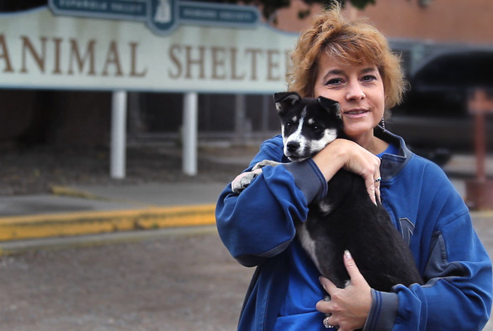 LANL employee P.J. Timmerman outside the Española Valley Animal Shelter.