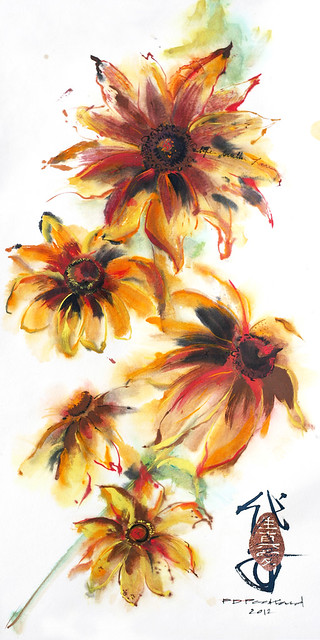 Wild Black-Eyed Susan. Painting by PD Packard, 2012. BBG Class: Chinese Brush Painting.