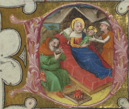 Missal of Eberhard von Greiffenklau, Nativity, Walters Manuscript W.174, fol. 19r detail by Walters Art Museum Illuminated Manuscripts